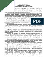 Nota Iknformativa La Proiectul Legii Cu Privire La Protectia Datelor Cu Caracter Personal