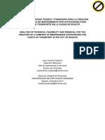 Análisis de Viabilidad Tecnica y Financiera Para La Creacion de Una Empresa de Mantenimiento Por Outsourcing Para Flotas de Transporte en La Ciudad de Bogotá