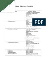 Interview Questions Checklist
