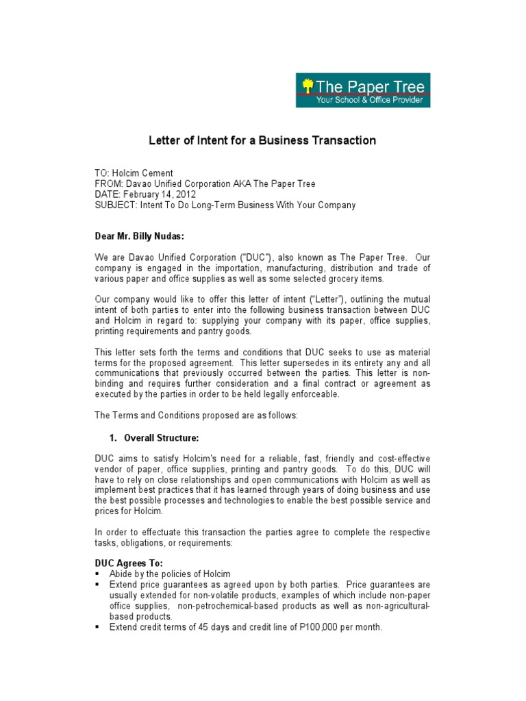 Letter of Intent for a Business Transaction