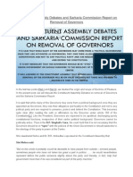 Constituent Assembly Debates and Sarkaria Commission Report on Removal of Governors