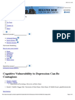 Cognitive Vulnerability to Depression Can Be Contagious
