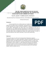 DETERMINACION DEL AREA ESPECIFICA DE UN SOLIDO MEDIANTE LA ISOTERMA DE ADSORSION  DE LAGMIUR DEL ACIDO ACETICO EN CARBON ACTIVADO.