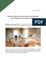 Kontest se rapproche de ses clients outre-Atlantique avec l'ouverture d'un bureau au Canada