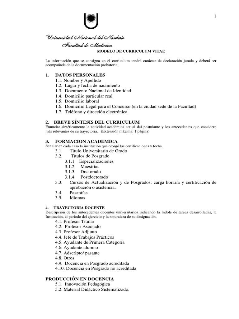 Fantástico Curriculum Vitae Profesor Adjunto Regalo - Colección De ...