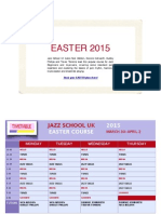Jazz School UK  Easter Course 2015 Timetable
