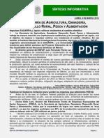 SINTESISI DE NOTICIAS SAGARPA 2015