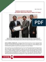 Kenanga Growth Fund 2015 Lipper Awards Winning
