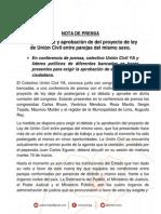 Nota de Prensa Conferencia previa al debate de Unión Civil Ya