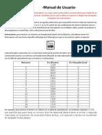 Manual de Usuario del Decodificador Binario a Hexadecimal con Display 7 Segmentos y Compuertas Lógicas