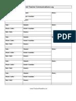 parent teacher communications log