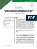 Evaluación Preoperatoria Para Intubación en Pacientes Pediátricos Cobinando Valores Predictivos de Dos Clasificaciones Clínicas