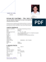 Ficha de Casting Teatro de Lima - 2013