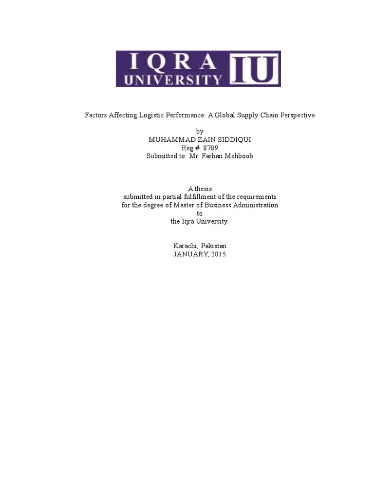 Free Logistics Dissertation & Dissertation topics | Researchomatic
