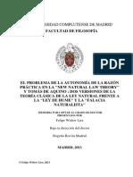Finnis - Widow, El Problema de La Autonomía de La Razón Práctica en La New Natural Theory y Tomás de Aquino Frente a La Ley de Hume y La Falacia Naturalista