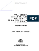 Kant, Immanuel Transición de Los Principios Metafísicos de La Ciencia Natural a La Física (Opus Postumum) Ed. Preparada Por Felix Duque, Ed. Nacional, 1983
