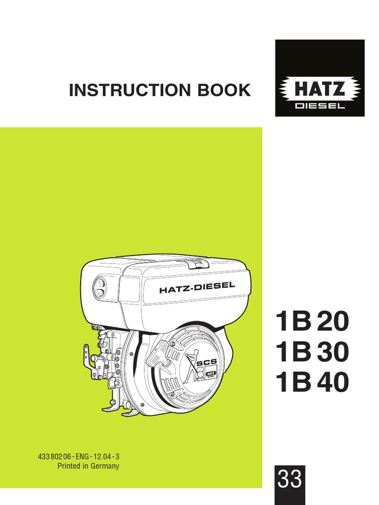 Manual Hatz 1b20 30 40 E 1 Internal Combustion Engine Motor Oil Diagram