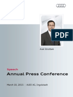 Axel Strotbek - Annual Press Conference 2015