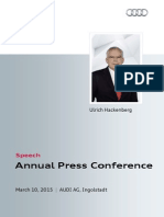 Ulrich Hackenberg - Annual Press Conference 2015