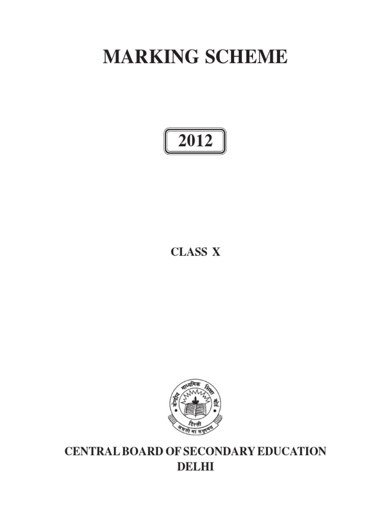 Class X - CBSE Marking Scheme 2012.pdf | Test (Assessment) | Teachers