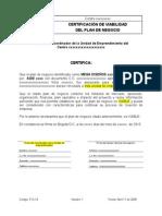 F12-14Certificación de Viabilidad Del Plan de Negocio Plantilla
