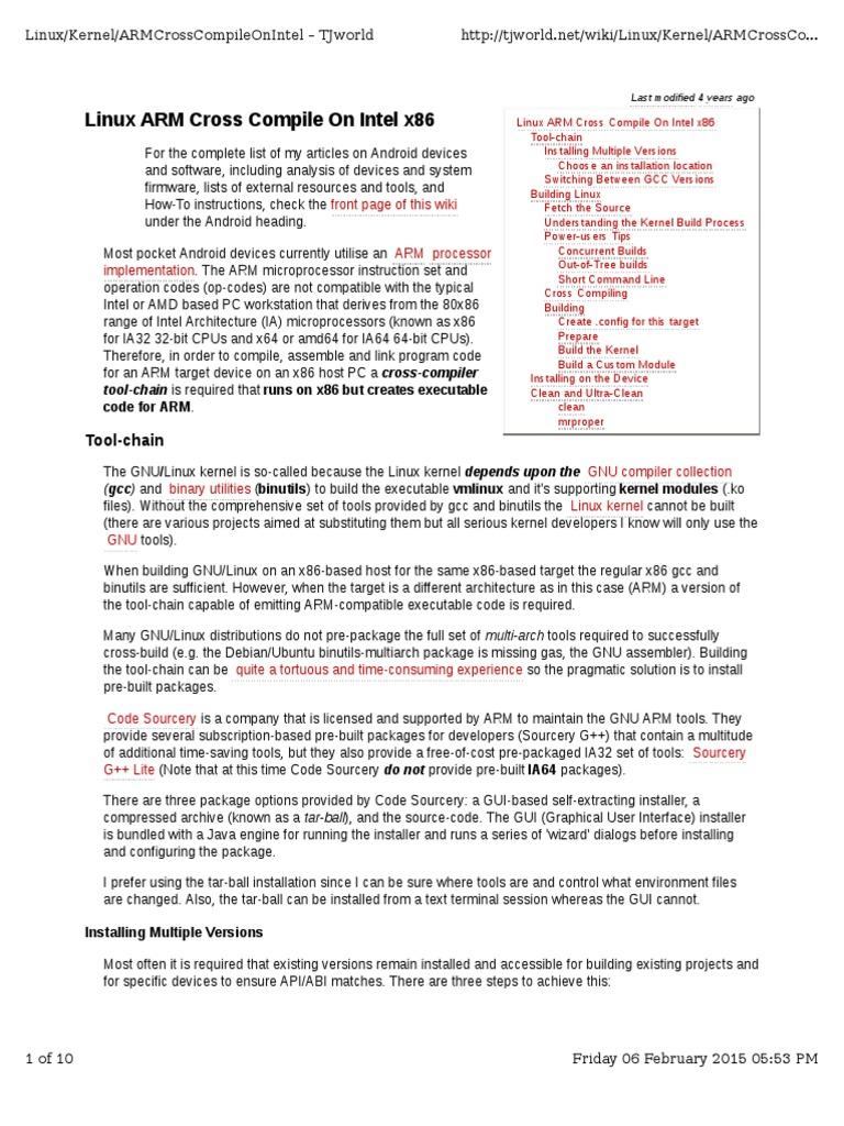 Linux ARM Cross Compile on Intel x86 | Arm Architecture | Gnu
