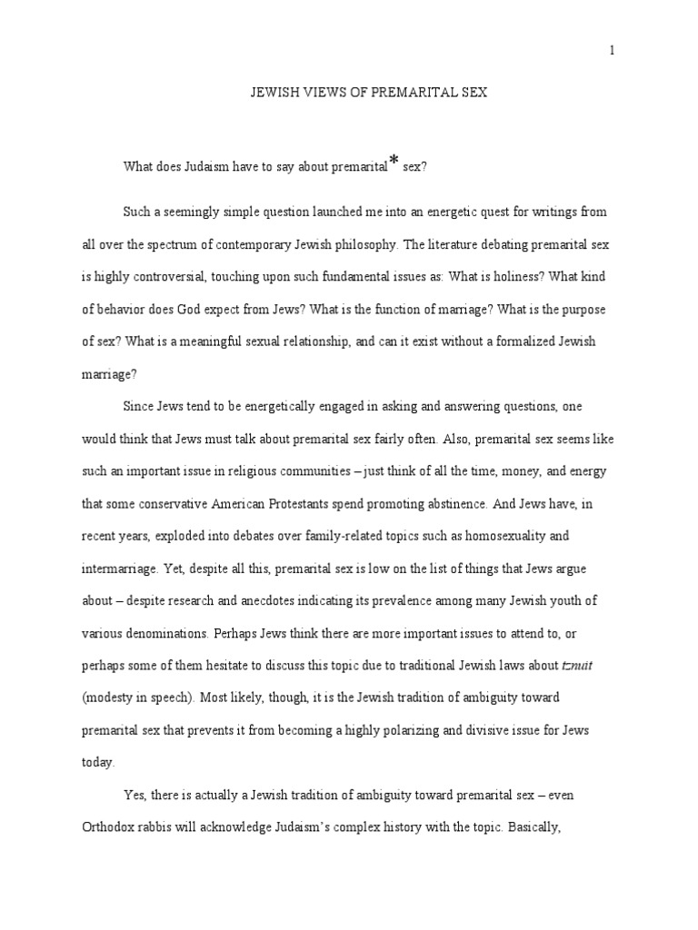 Premarital Sex and Religion Essay