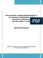 How Media Students at University of Botswana Prefer to Learn - Rooney