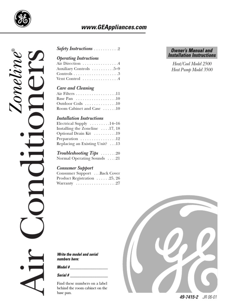 GE Zoneline Air Conditioner Owner's Manual and