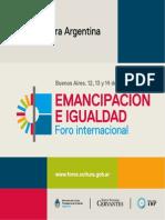 Programa Del Foro Internacional - Emancipación e Igualdad