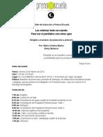 Memorias taller de inducción a Prensa Escuela para maestros de preescolar y primaria. Febrero 20 de 2015