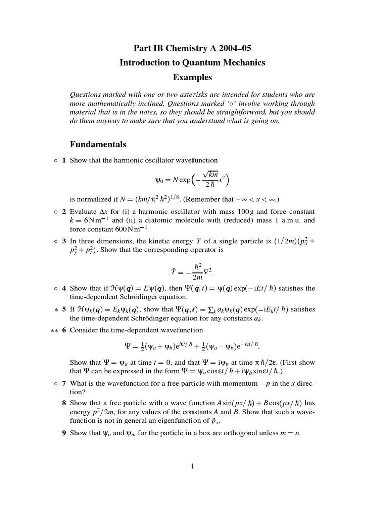 Examples Quantum Chemistry | Wave Function | Molecular Orbital