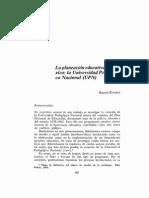 Kovacs... Planeacion Educativa de Mexico. la creacion de la UPN