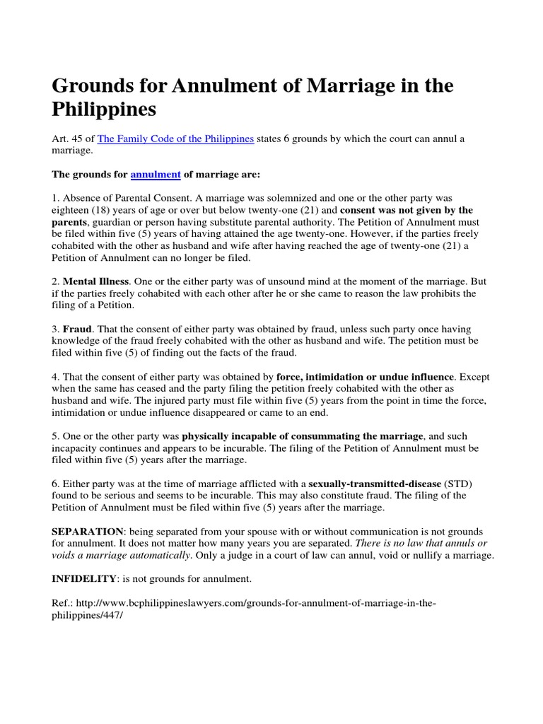 Grounds for Annulment of Marriage
