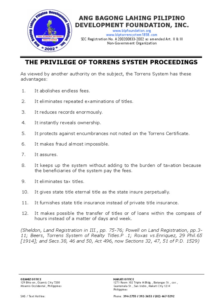 The Privilege Of Torrens System Proceedings Law And Economics