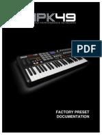 Mpk49 Factorypreset Documentation v1!1!00