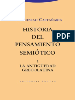 Historia Del Pensamiento Semiótico 1. La Antigüedad Grecolatina - Castañares, Wenceslao