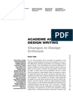 ACADEME AND DESIGN WRITING Changes in Design Criticism