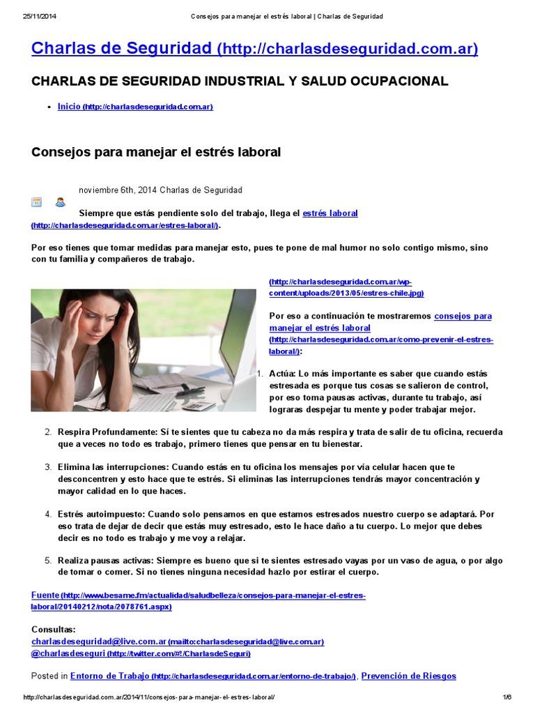 Consejos Para Manejar El Estrés Laboral Charlas De