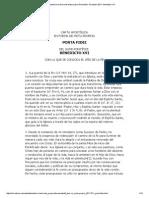 Carta Apostólica en Forma de Motu Proprio Porta Fidei, 10 Octubre 2011- Benedicto XVI