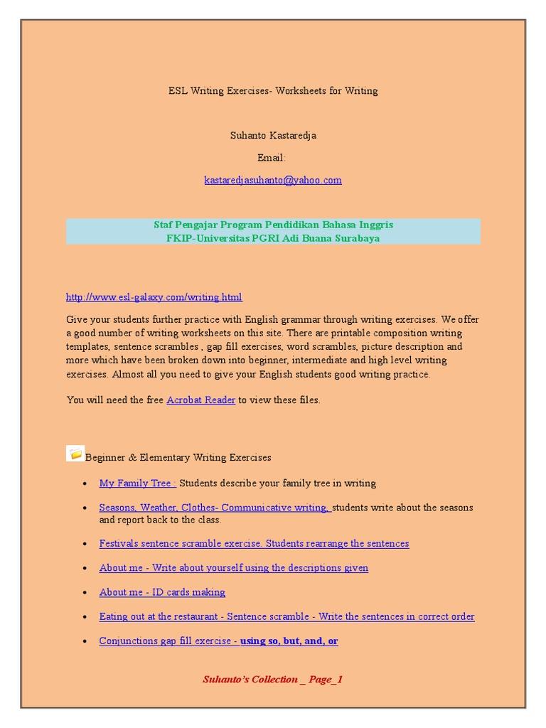ESL Writing Exercises Drs Suhanto Kastaredja MPd – Esl Writing Worksheets