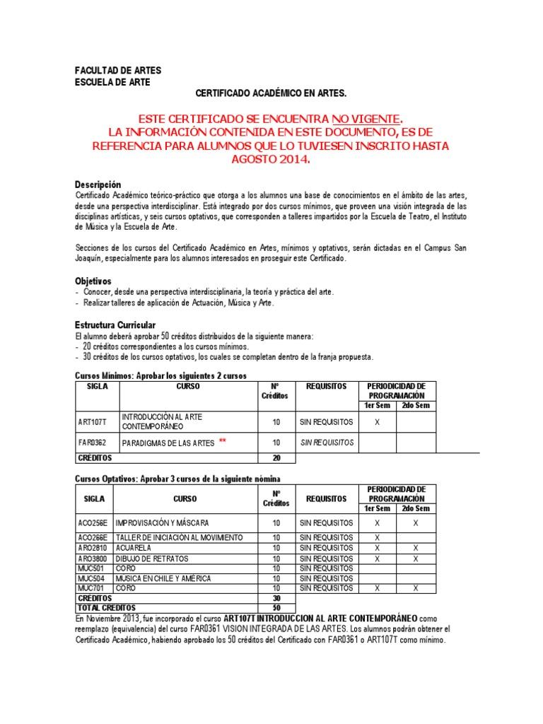 No Vigencia Ca Artes Septiembre 2014 Ciencia General