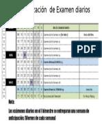 Calendarización de Examen Diarios