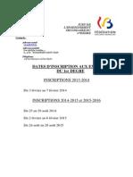 Jurys - Enseignement Secondaire - 1er Degré - Dates d Inscription Aux Examens (2013 à 2016) (Ressource 10487)