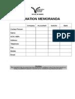 Template Information Memoranda