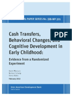 Cash Transfers, Behavioral Changes, And Cognitive Development in Early Childhood- Evidence From a Randomized Experiment