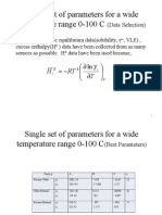 Single Set of Parameters for a Wide Temperature