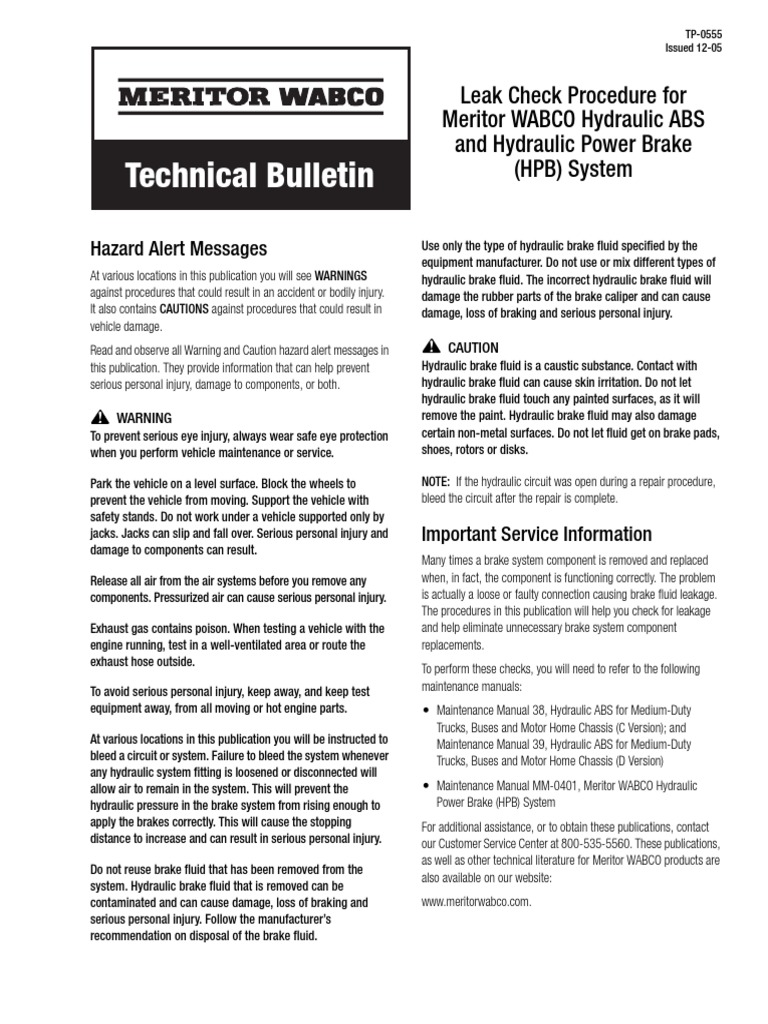MeritorWABCO-Hydraulic ABS Leak Check-TP0555 | Anti Lock Braking