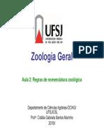 Aula 2 Regras de Nomenclatura Zoologica 2015 1