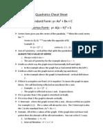 quadratics cheat sheet